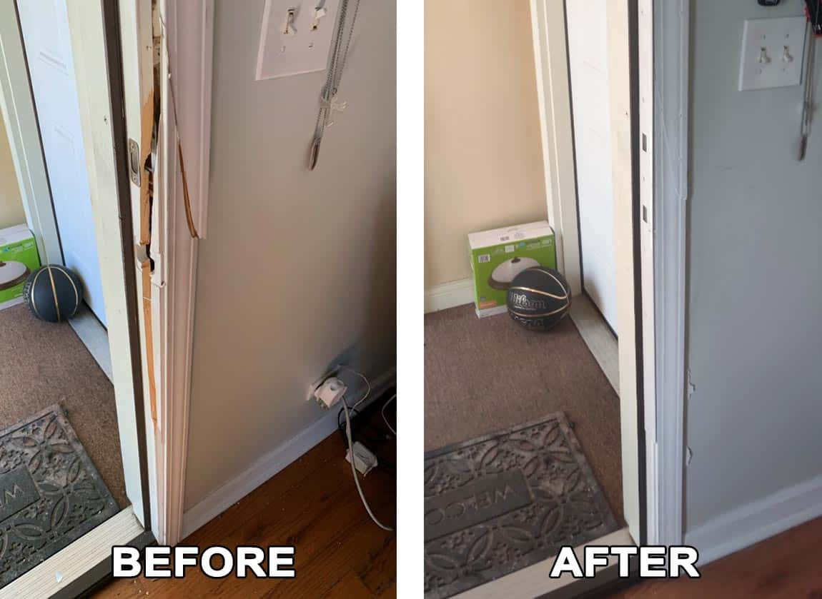 Image of a residential door we repaired after a break-in.